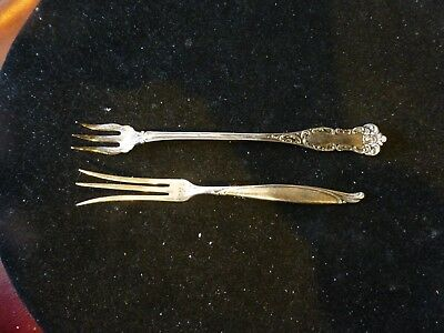 Pair Of Antique Forks-For Pickles Or Olives-One Is Sterling-Signed
