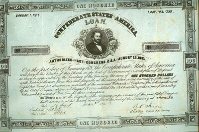 1863 Confederate States Of America $100 Bond Cr#43 28 Coupons Attached Scarce!