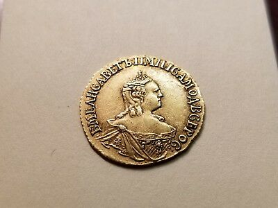 Russia- 1756 Gold 1 Ruble Very Fine -Problem Free Scarce Coin !!