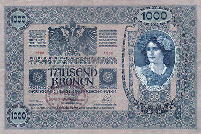 1000 Korona/kronen Ef From Shs Kingdom 1919 With A Contemporary Fake Stamp!!