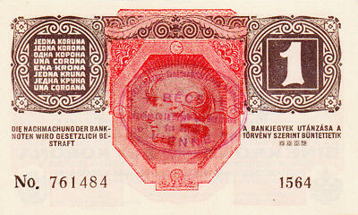 1 Korona/kronen Aunc From 1920 With A Contemporary Fake Stamp!!!