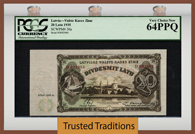 TT PK 30a 1935 LATVIA 20 LATU SCARCE BANKNOTE PCGS 64 PPQ VERY CHOICE NEW