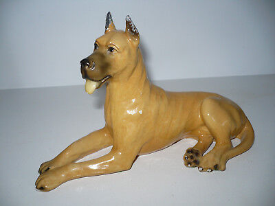 "Vintage Mortens Studio Great Dane Dog Figurine Sitting 8 1/2"" Long"
