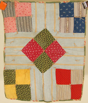 WONDERFUL 1890's Four Patch Diamond Antique Miniature DOLL QUILT~GREAT FABRICS!