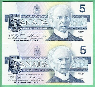 1986  Bank Of Canada  Five  Dollars  2    Bank  Notes  Unc