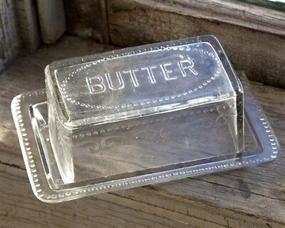 New Vintage-Inspired Heavy Pressed Clear Glass Farmhouse Butter Dish w/Lid