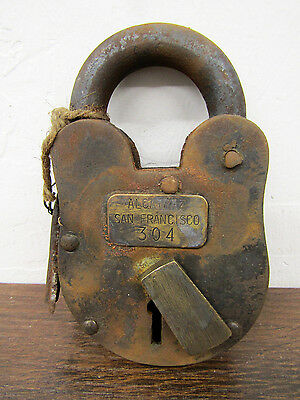 Antique-Finish RUSTIC Alcatraz Numbered Prison Cell Lock Padlock w/Skeleton Keys