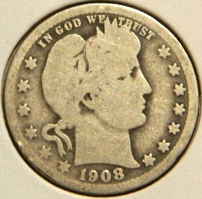 Barber Quarter - 1908 - Historic Silver! - $1 Unlimited Shipping.