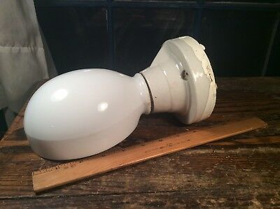 VTG Art Deco 1930s Porcelain Wall Sconce Bathroom Light Fixture Milk Glass Shade