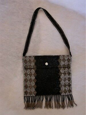 Antique Art Deco Micro French Steel Cut Beaded Purse