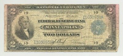 Minneapolis issued Fr. 772 Battleship $2 Series 1918 Federal Reserve Bank Note