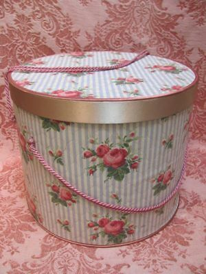 1950's Drum-Size HAT/JEWELRY BOX Combo *PINK ROSE BLOSSOMS & SATIN TRIM* Excnt