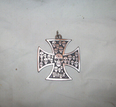 "Vintage 2"" German Maltese Iron Cross Skulls Signed Enamel Silver Pendant"