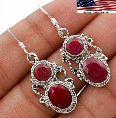 "5CT Earth Mined Ruby 925 Solid Sterling Silver Earrings Jewelry 1 3/4"" Long A5-2"