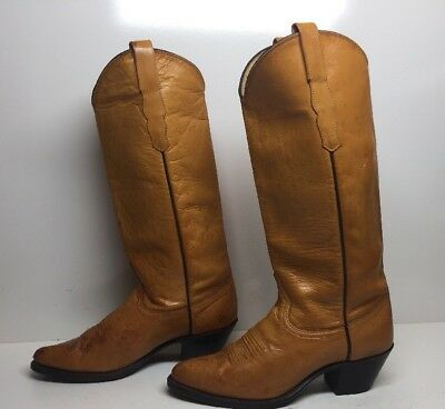 Vtg Womens Dan Post Cowboy Leather Brown Boots Size 8 M