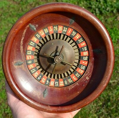 Rare Small Antique Wood Roulette Wheel Casino Stamped With Makers Mark