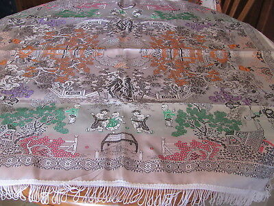 Chinese Silk Brocade Tablecloth-Piano Shawl-Children in Garden-Colorful-Fringe