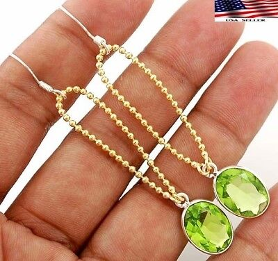"Two Tone- 5CT Peridot 925 Solid Sterling Silver Earrings Jewelry 3"" A5-2"