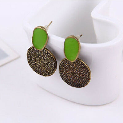 Retro VTG Antique Brass Bronze Round Ear Studs Earrings Green
