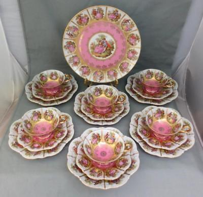 "-6- JKW FRAGONARD ""LOVE STORY"" TRIO SETS Cups Saucers Plates + 10"" Plate"