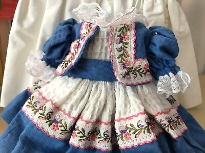 Beautiful Blue and White Doll Dress for Toni inch Vintage