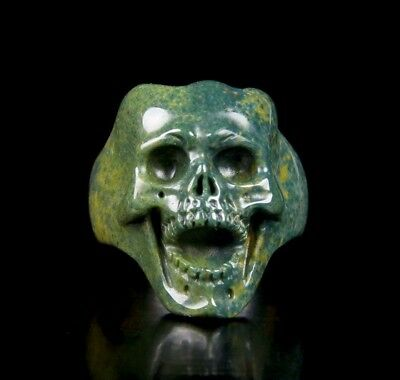 Size 8 1/2, BLOODSTONE Carved Crystal Skull Ring, Jewelry