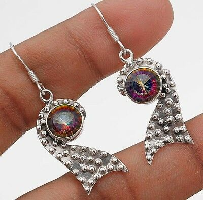 """Color Changing Rainbow Topaz 925 Solid Sterling Silver Earrings Jewelry 1 2/3"""""""