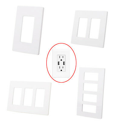 1/2/3/4 Gang Screwless Decorator GFCI Outlet Home Wallplate Rocker Switch Cover