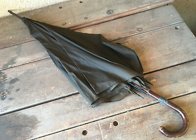 Parasol Umbrella Brown Silk AS IS Silver Band on Curved Wood Handle Antique 36""