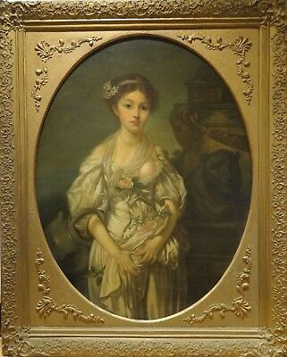 Fine Huge 18th Century French Portrait of A Girl Antique Oil Painting GREUZE