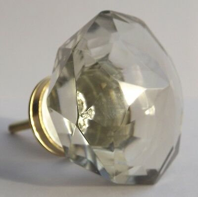 Large Clear Crystal Glass Vintage Style Brass Drawer Door Pull Knob Handle