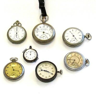 Lot of 7 Vintage & Antique Pocket Watches