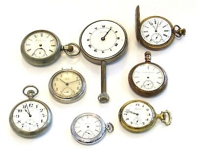 Lot of 8 Vintage & Antique Pocket Watches