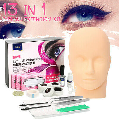 Semi Permanent Eyelash Lash Extensions C Curl Glue Mannequin Training Set Kit