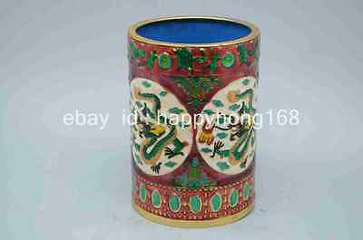 Chinese Cloisonne Hand-painted Flower Brush Pots Qing Dynasty Mark