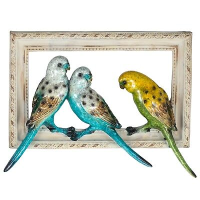 "Blue & Green Parakeets Budgies Figurine Sculptured Bird Frame 10"" Long Resin New"