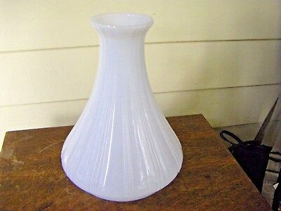 Antique Ribbed Milk White Glass Angle Oil Lamp Chimney Globe Excellent