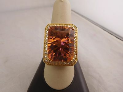 Beautiful Vintage Sterling Silver Orange Citrine Glass Cz Stone Ring