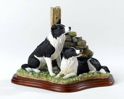 Border Fine Arts Collie Dogs Ready And Waiting Figurine A6129 Boxed