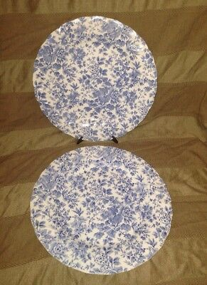 Nikko Japan Blossom Time Tea Roses Blue Flowers Dinner Plates - Set of Two