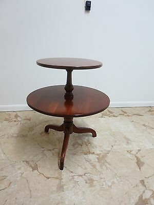 rare Ethan Allen Sheffield solid cherry two tier lamp end table muffin stand