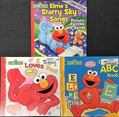 Lot 3 ELMO Sesame Street PICTURE Story BOOKS New ABC Stickers LOOK  AND FIND