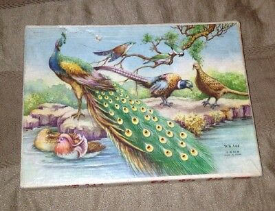 OLD VINTAGE CHINA ANIMAL WOODEN PUZZLE WB 344 Animals Peacocks Lions Quail, Bird