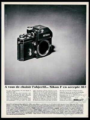 1968 Nikon F camera body photo unusual French vintage print ad