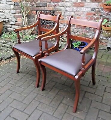 Pair Antique Style Mahogany Desk~Library~Office~Reception Chairs~Leather Seats
