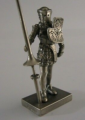 Superb Solid Cast Sterling Silver Knight Jousting Figure London 1975