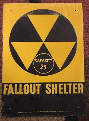 """Vintage Government Defense Issue Metal Fallout Shelter Sign 14"""" X 10"""" Cap 25"""