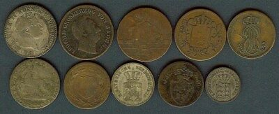 German States 1751-1863 Mixed Denominations Nice 10 Coin Collection Some Silver!