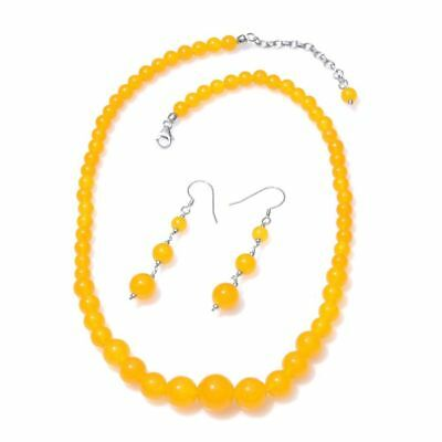 Yellow Quartzite Necklace, Hook Earrings in Platinum Over Sterling Silver 200 Ct