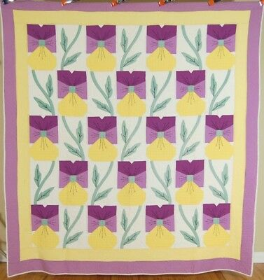 OUTSTANDING Vintage 30's Pansy Applique Antique Quilt ~EXCELLENT QUILTING!